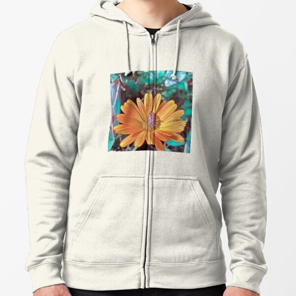 Beautiful Daisy Flower with a Stink Bug Feeding on the Plant Zipped Hoodie