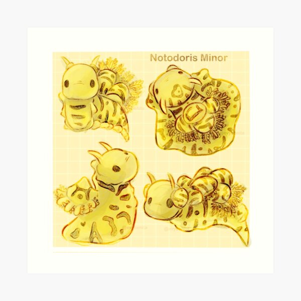 "Autumn Yellow ""Notodoris Minor"" Nudibranchs Sea Slug Pattern Art Print"