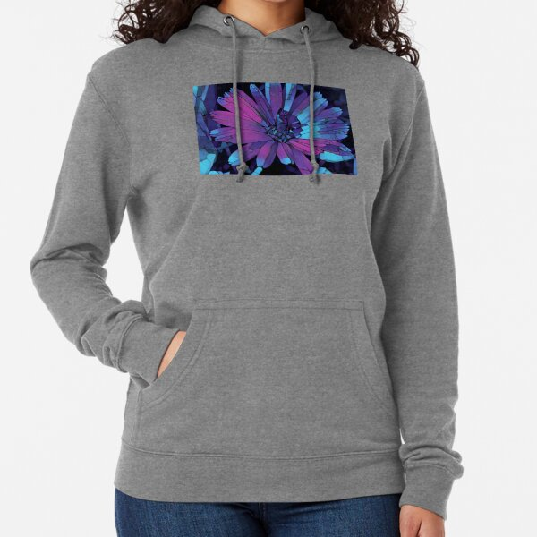 Beautiful Daisy Flower with a Stink Bug Feeding on the Plant - Blue and Purple Lightweight Hoodie