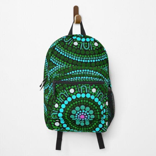 Australian Aboriginal Art Dot Painting Mandala Green Backpack