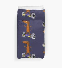 Funny Cool Dachshund on Hoverboard Duvet Cover
