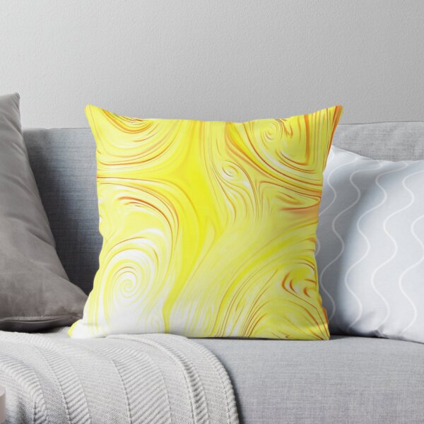Fall patterns. Abstract watercolor new collection. Yellow love Throw Pillow