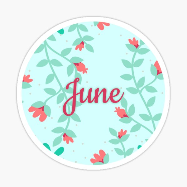June monthly image for bullet journals & greeting cards Sticker