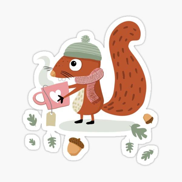 """Squirrel Emil wishes """"Get well soon!"""" Sticker"""