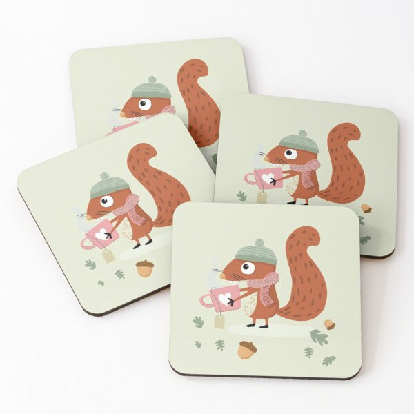 """Squirrel Emil wishes """"Get well soon!"""" Coasters (Set of 4)"""