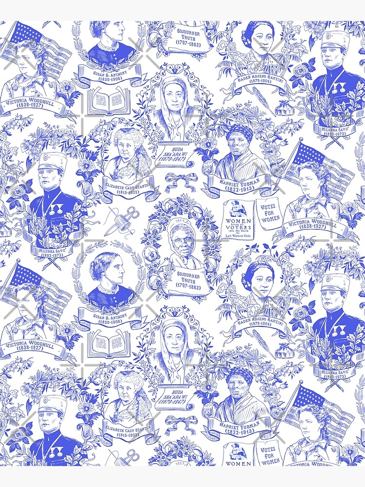 Feminist Pioneers Toile in Royal Blue with Women from Around the World by vinpauld