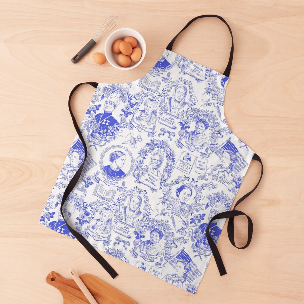 Feminist Pioneers Toile in Royal Blue with Women from Around the World Apron