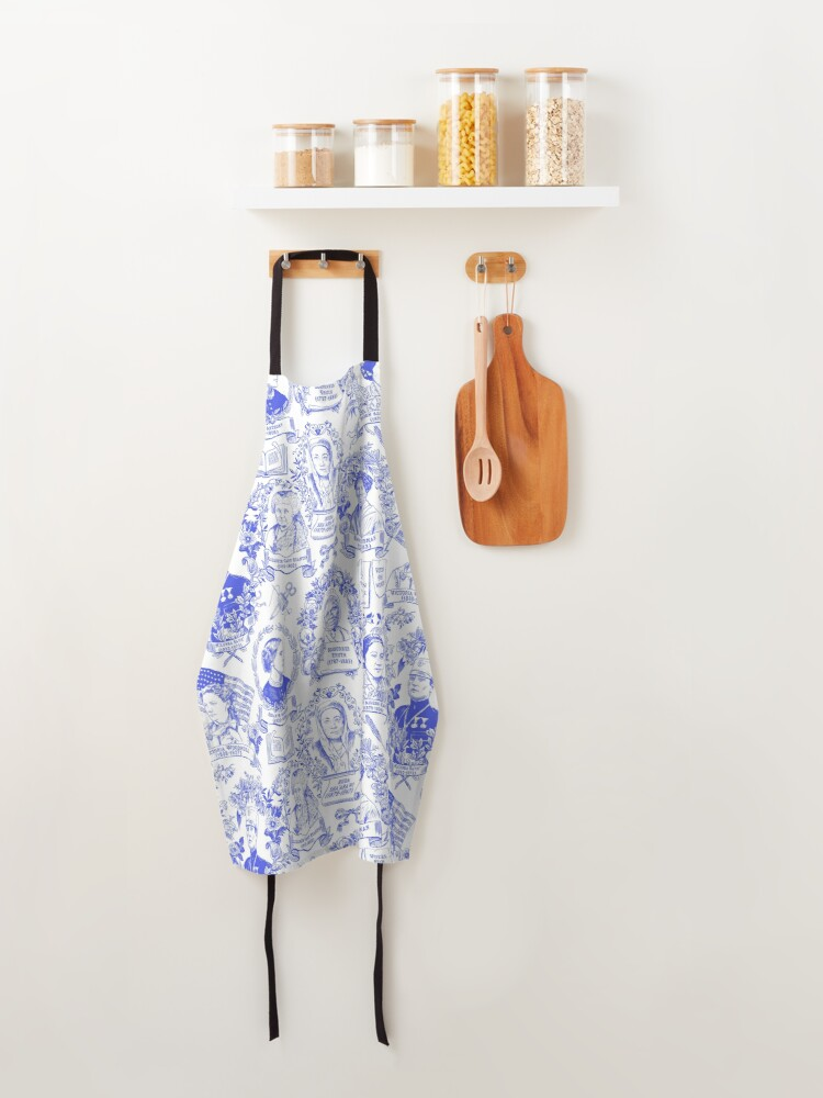 Alternate view of Feminist Pioneers Toile in Royal Blue with Women from Around the World Apron