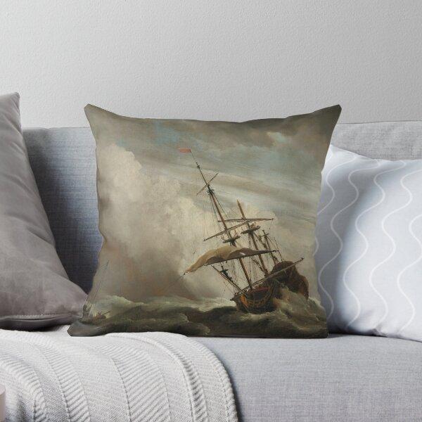 Ship art by Willem van de Velde II Throw Pillow