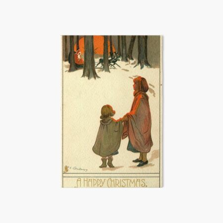 "Vintage ""A Happy Christmas"" Postcard (1907) Art Board Print"