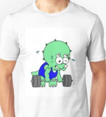 Illustration of a Triceratops lifting weights. Unisex T-Shirt