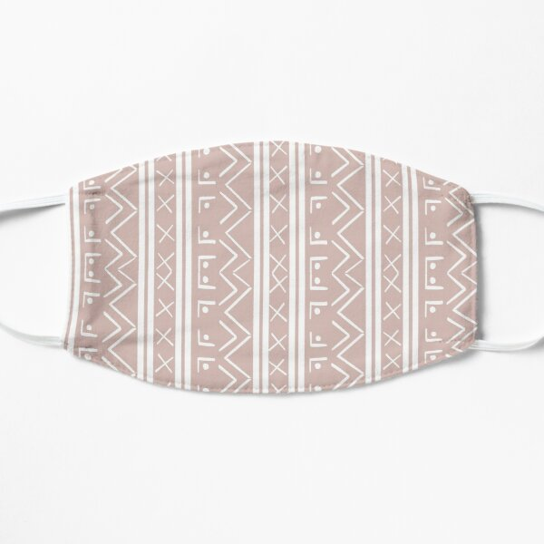 Soft Pink and White Simplistic Mud cloth Pattern Mask