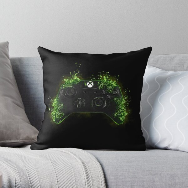 Xbox - Controller Shattered (Green)  Throw Pillow