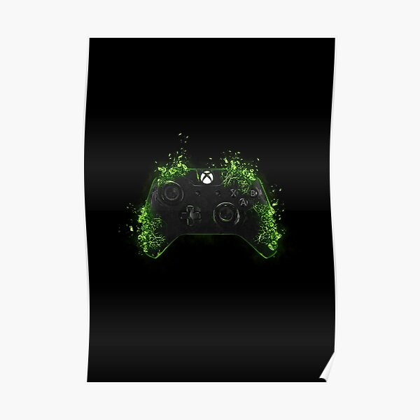 Xbox - Controller Shattered (Green)  Poster