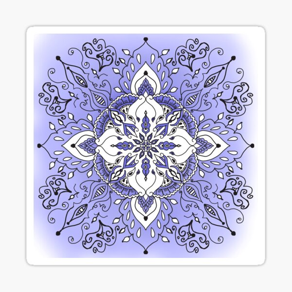 Purple, Black and White Mandala Sticker