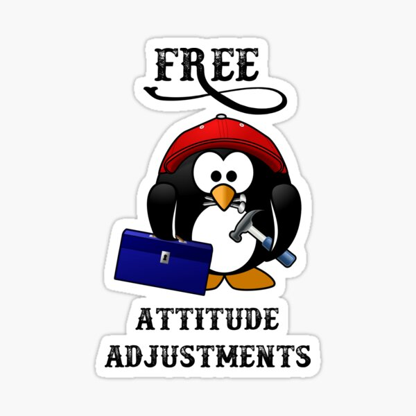 Free Attitude Adjustments - A Cute Penguin With A Tool Box, Hammer, And Nails.  Sticker