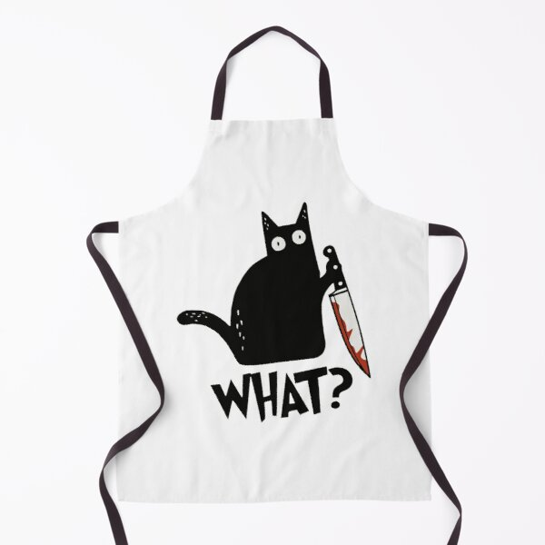Cat What? Murderous Black Cat With Knife Gift Premium T-Shirt Apron