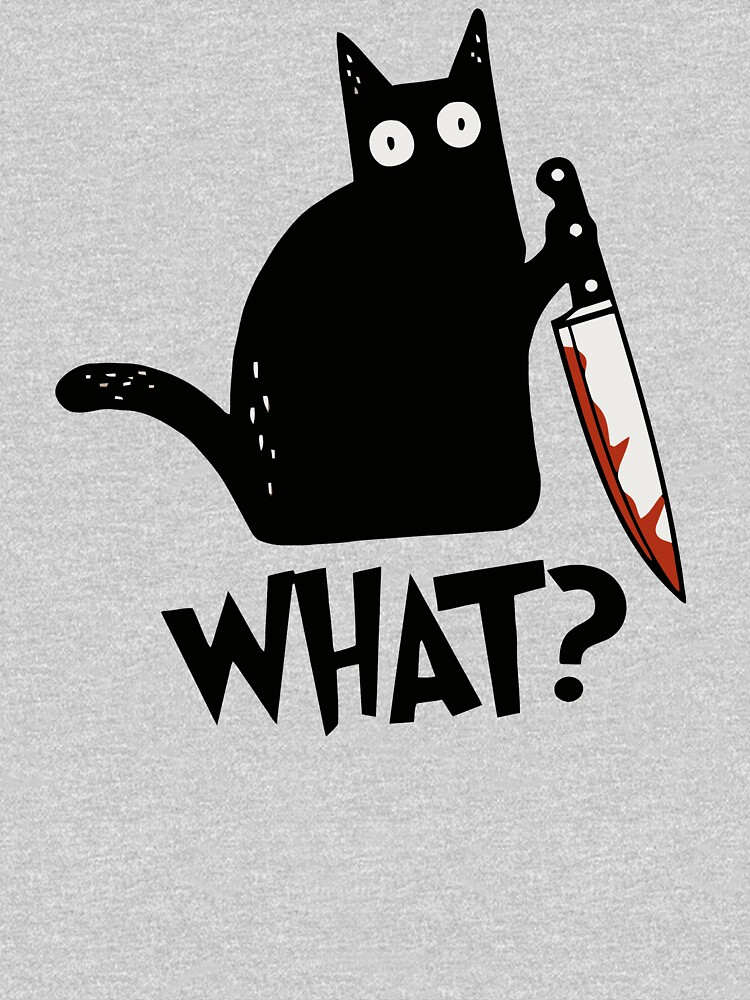 Cat What? Murderous Black Cat With Knife Gift Premium T-Shirt by ZeLittleFamily