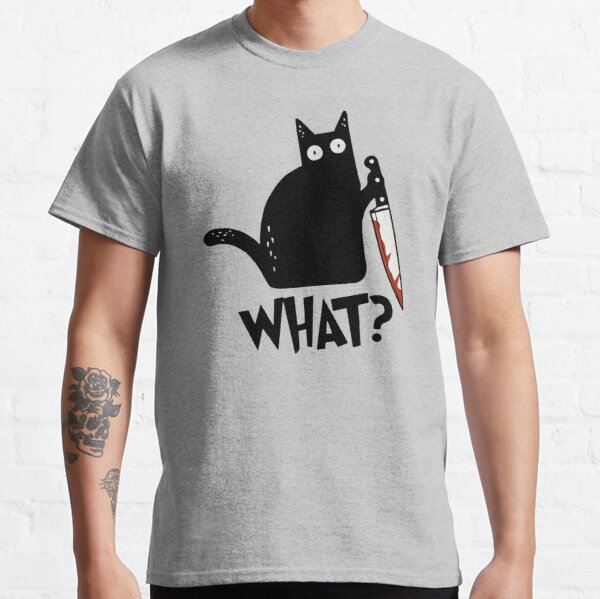 Cat What? Murderous Black Cat With Knife Gift Premium T-Shirt Classic T-Shirt