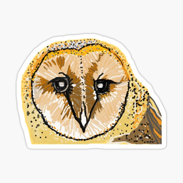 Barn Owl Caricature Sticker