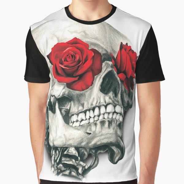 Rose Eye Skull Graphic T-Shirt