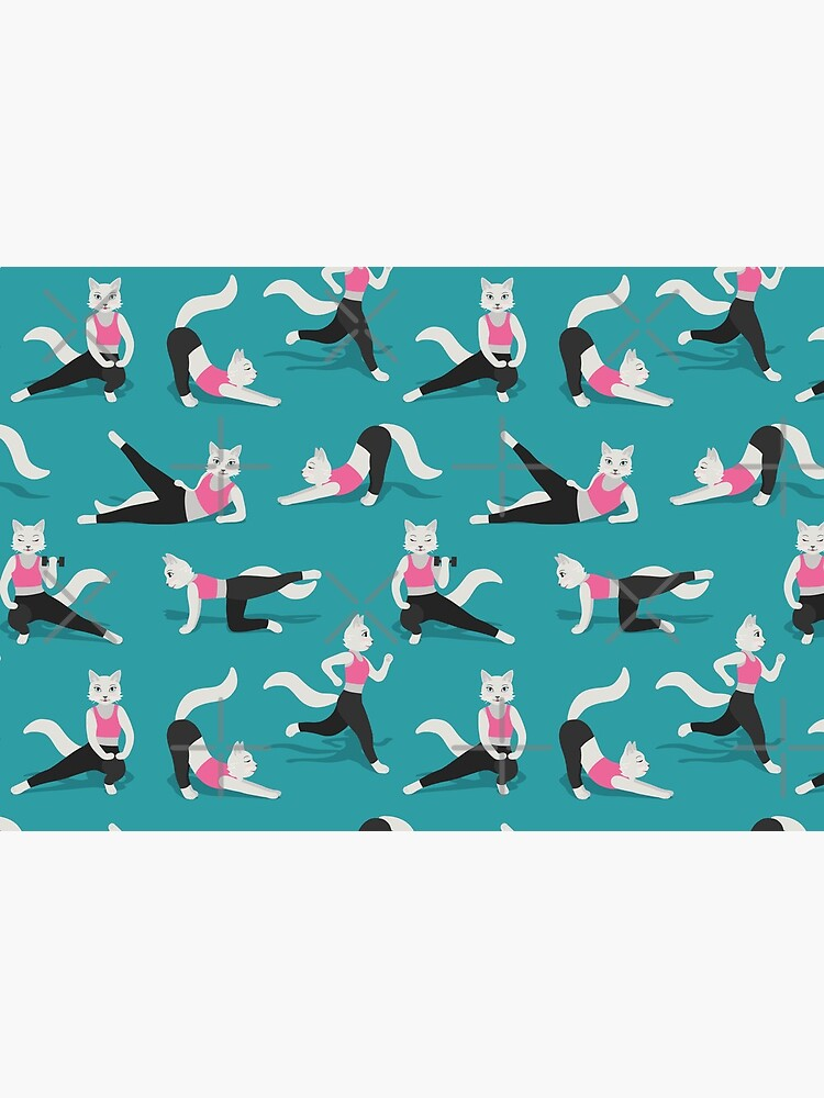 Fitness Cats on teal by nadyanadya