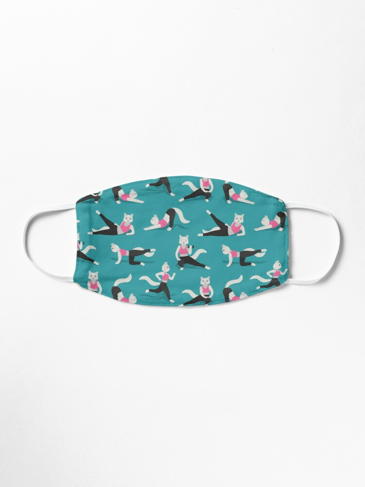 Alternate view of Fitness Cats on teal Mask