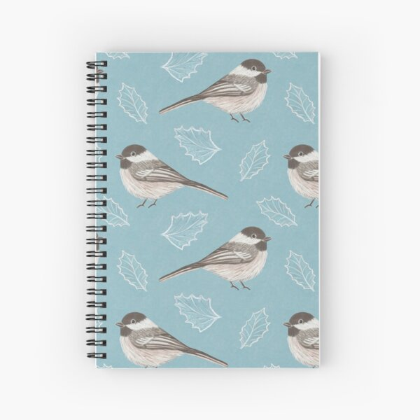 Chickadees and Frosted Leaves Spiral Notebook