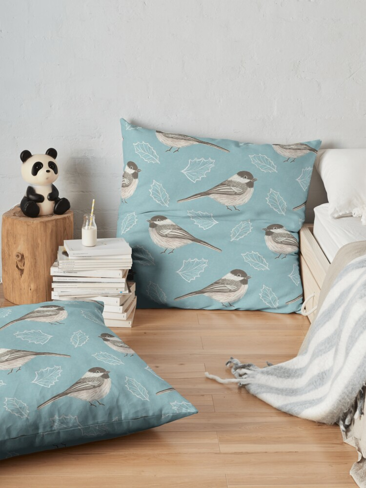 Alternate view of Chickadees and Frosted Leaves Floor Pillow