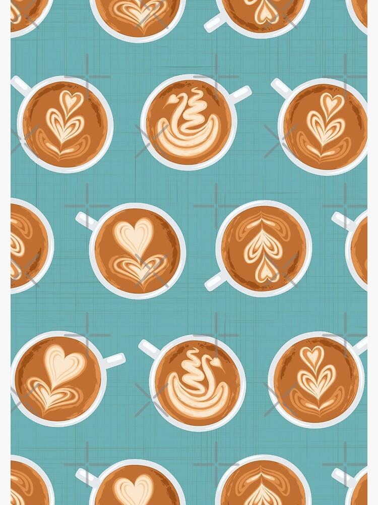 Coffee Art Cups on teal by nadyanadya