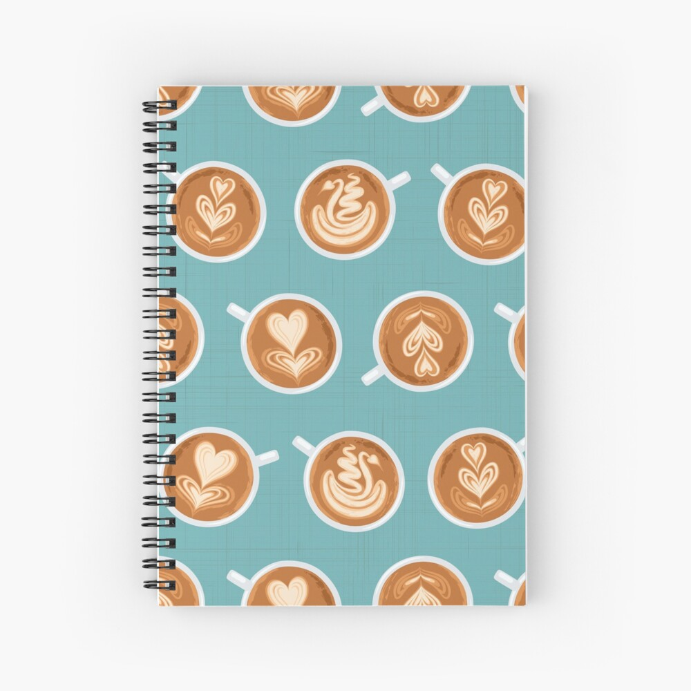 Coffee Art Cups on teal Spiral Notebook