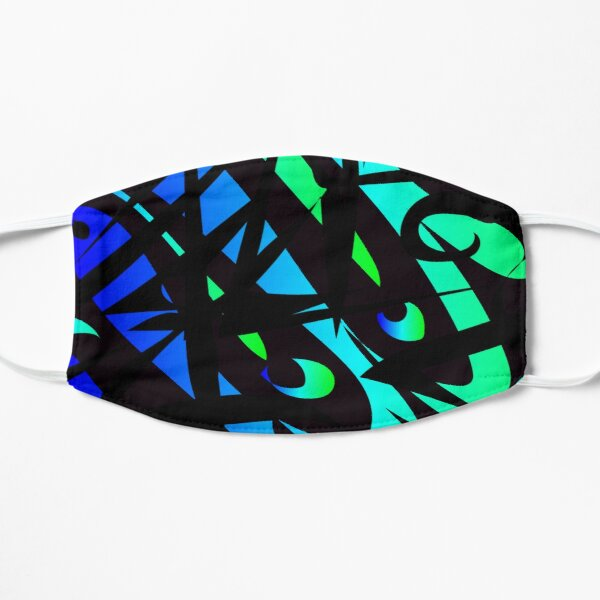 oil spill- neon colors abstract art Flat Mask