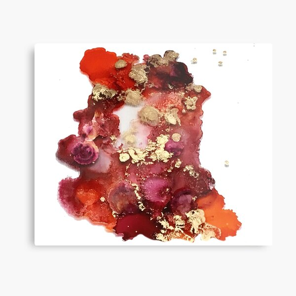 Cherry Riot - Cherry and Gold Abstract Ink Metal Print