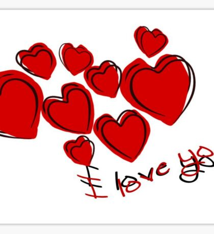 I Love You Valentine Hearts With Greeting Sticker