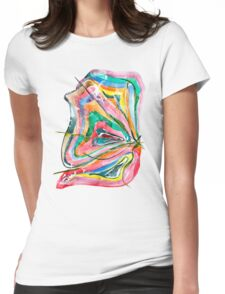 Unknown Butterfly - Small Abstract Landscape, watercolor, ink & pencil on paper Womens Fitted T-Shirt