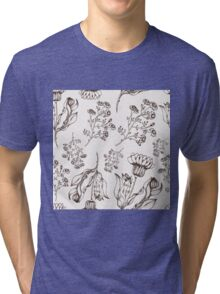 Medicine herb vector seamless nature pattern. Hand drawing sketch illustration Tri-blend T-Shirt