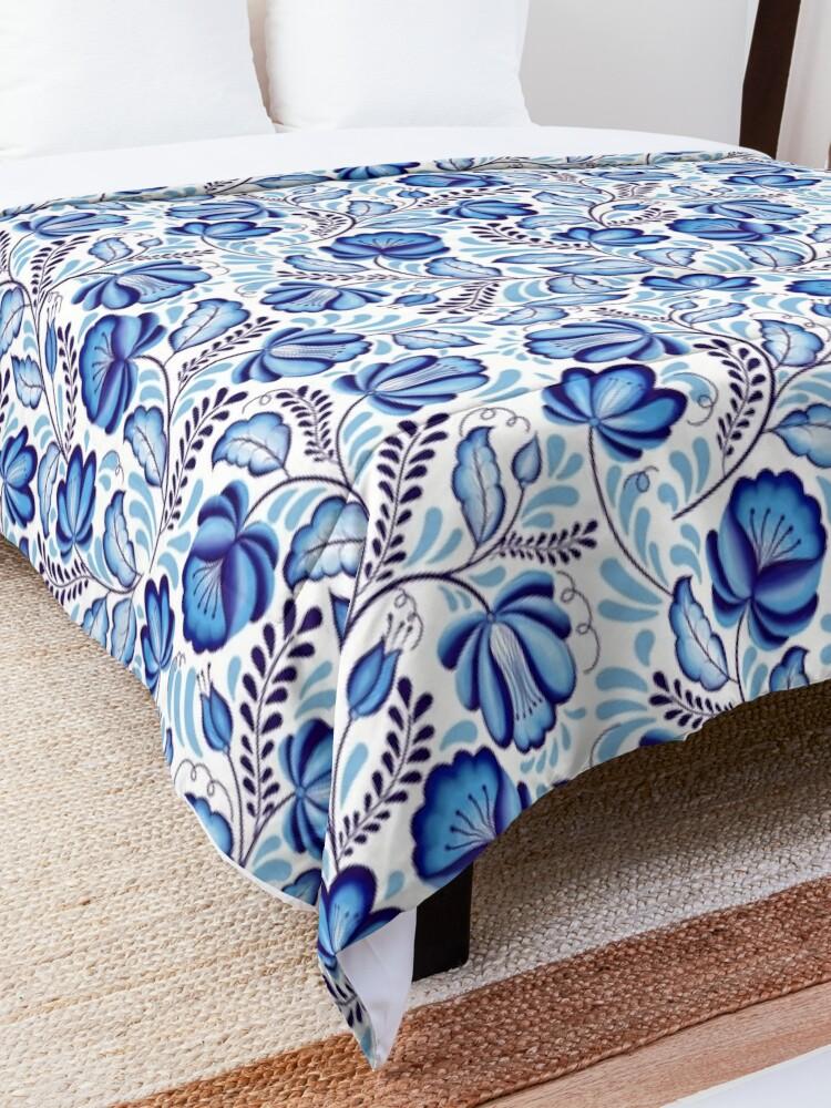 Alternate view of Blue Flowers Gzhel. Comforter