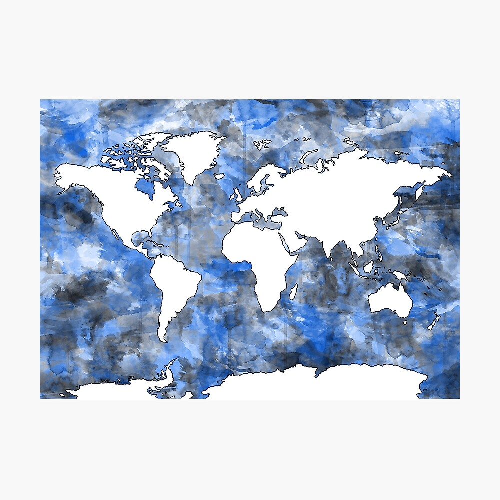 Weltkarte Aquarell 7 Fotodruck