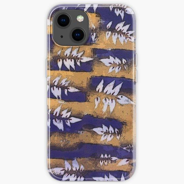 7 leaf Blue Gold iPhone Soft Case