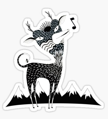 Singing Deer of the Shaggy Mountains Sticker