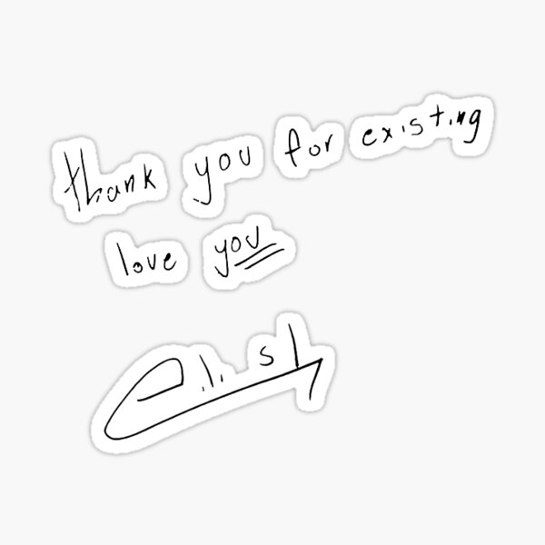 letra de b + firma Pegatina