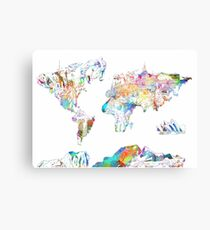 world map collage 4 Canvas Print