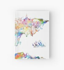 world map collage 4 Hardcover Journal