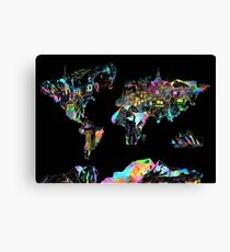 world map collage 5 Canvas Print