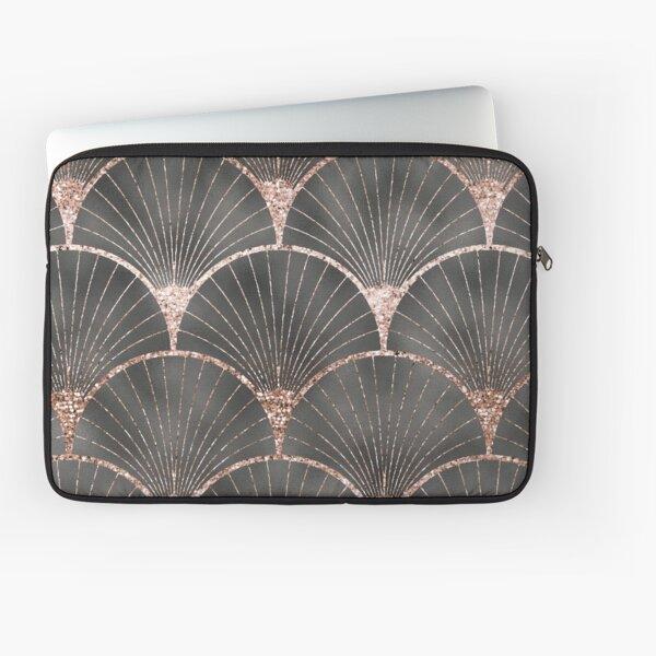 Art Deco elegance - rose gold & steel grey fan Laptop Sleeve