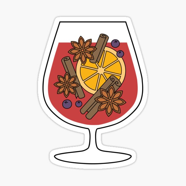 Crhistmas mulled wine drawing Sticker