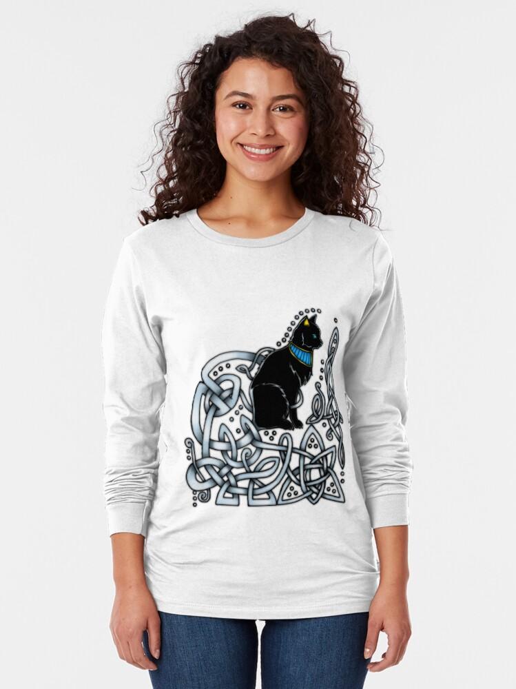 Alternate view of Celtic/Egyptian Cat Long Sleeve T-Shirt