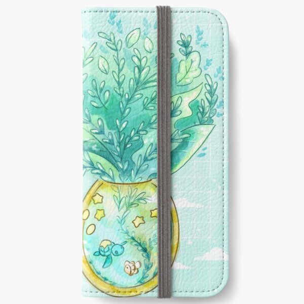 Tropical Fantasy Pineapple Terrarium with Sea Turtle, Clownfish and Stars iPhone Wallet