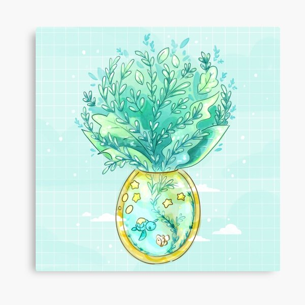 Tropical Fantasy Pineapple Terrarium with Sea Turtle, Clownfish and Stars Canvas Print