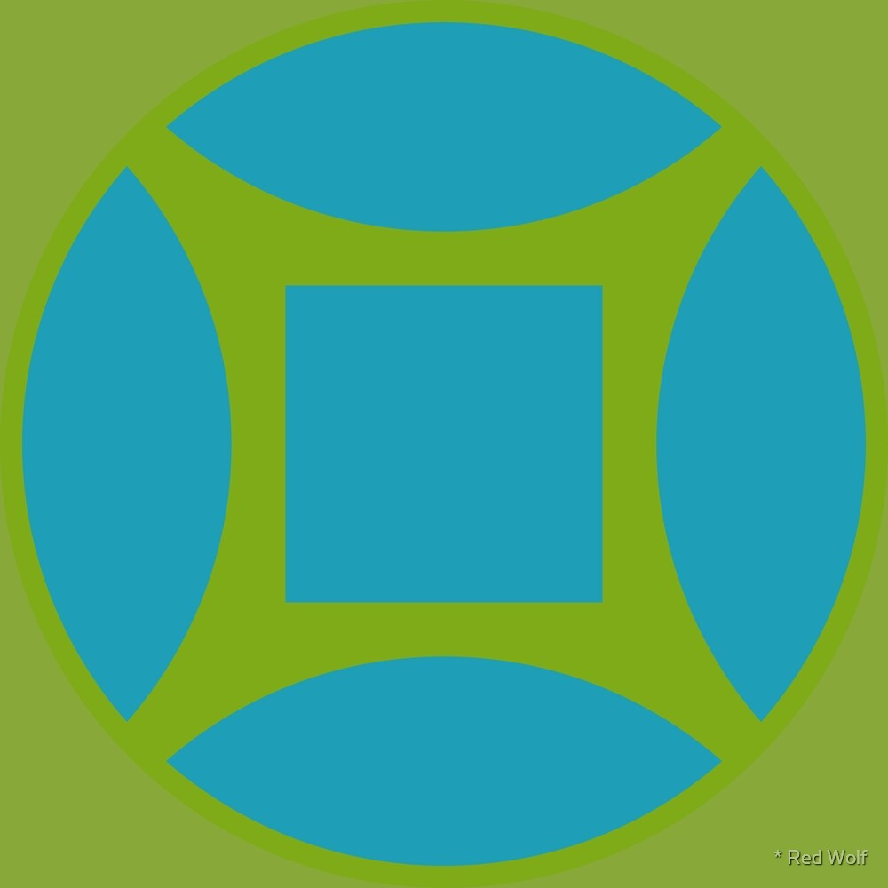 Geometric Pattern: Intersect Square: Algal Bloom by * Red Wolf